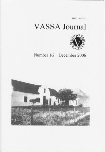 VASSA Journal 16 Cover