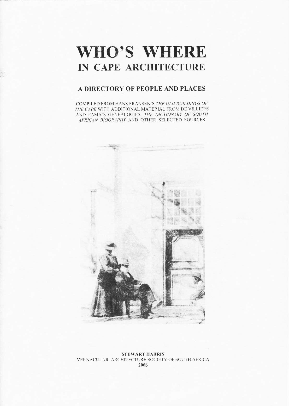 Who's Where in Cape Architecture